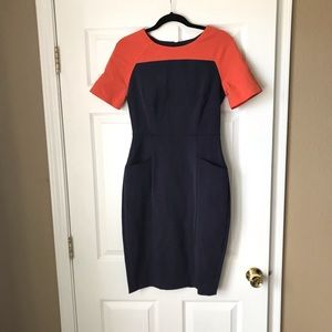 LM Style Bar Orange Navy colorblock fitted dress